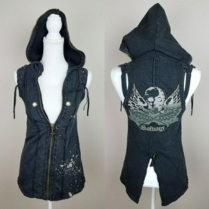 Salvage Sleeveless Hoodie Vest Top Grunge Punk S